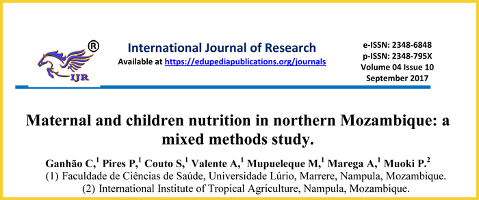 Maternal and children nutrition in northern Mozambique: a mixed methods study
